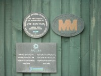 Dyfi Eco Park at Machynlleth award plaques. Architect Julian Bishop